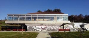 Fotomontaje del mural Huella para Mendibile Jauregia